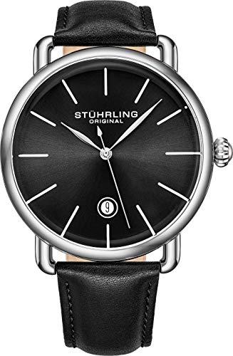 腕時計 ストゥーリングオリジナル メンズ 【送料無料】Stuhrling Original Ascot Mens Black Watch - Swiss Quartz Analog Date Wrist Watch for Men - Stainless Steel Mens Designer Watch (Black/Black)腕時計 ストゥーリングオリジナル メンズ