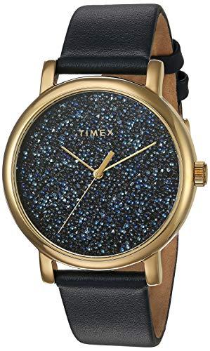 タイメックス 腕時計 レディース Timex Women's TW2R98100 Crystal Opulence Blue/Gold Leather Strap Watchタイメックス 腕時計 レディース
