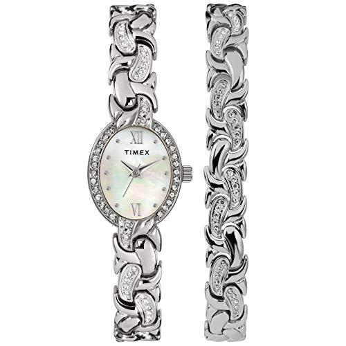 タイメックス 腕時計 レディース 【送料無料】Timex Women's Dress Analog 19mm Watch & Bracelet Set with Swarovski Crystalsタイメックス 腕時計 レディース
