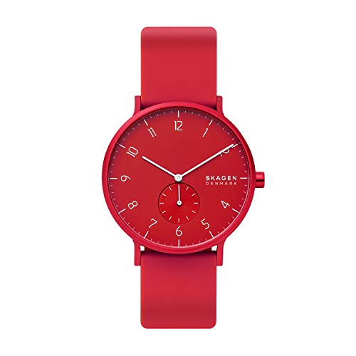 スカーゲン 腕時計 レディース Skagen Aaren Kul?r Stainless Steel Quartz Watch with Silicone Strap, red, 20 (Model: SKW6512)スカーゲン 腕時計 レディース