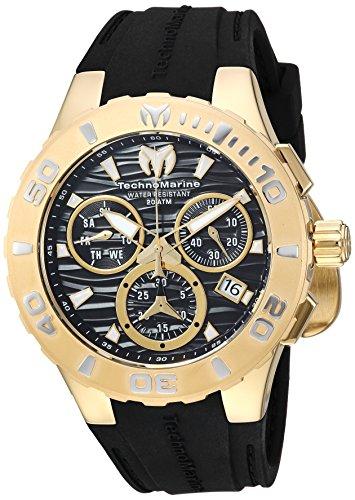 テクノマリーン 腕時計 メンズ Technomarine Men's Cruise Stainless Steel Quartz Watch with Silicone Strap, Black, 26 (Model: TM-115076)テクノマリーン 腕時計 メンズ