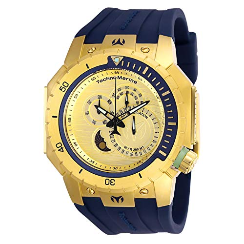 テクノマリーン 腕時計 メンズ 【送料無料】Technomarine TM-216010 Men's Multifunction Watch 48mm Gold-Tone Case Dark Blue Silicone Strap Manta Diver 200Mテクノマリーン 腕時計 メンズ