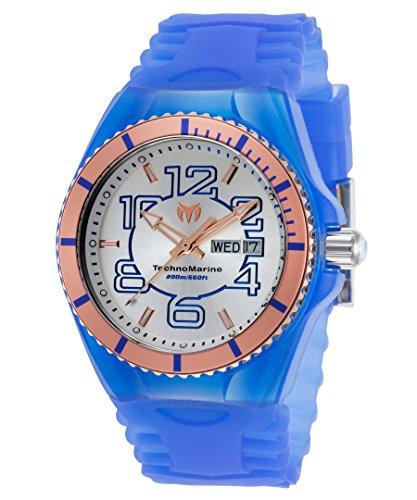 テクノマリーン 腕時計 メンズ Technomarine Tm-115146 Men's Cruise Jellyfish Blue Silicone Silver-Tone Dial Rose-Tone Bezel Watchテクノマリーン 腕時計 メンズ