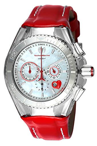 テクノマリーン 腕時計 レディース 【送料無料】Technomarine Women's Cruise Stainless Steel Quartz Watch with Leather Calfskin Strap, red, 26 (Model: TM-115312)テクノマリーン 腕時計 レディース