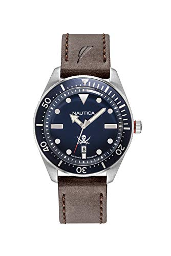 ノーティカ 腕時計 メンズ Nautica Men's Hillcrest Stainless Steel Japanese-Quartz Watch with Leather Strap, Brown, 22 (Model: NAPHCP902ノーティカ 腕時計 メンズ