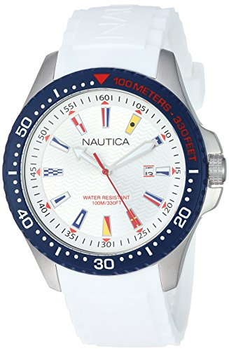 ノーティカ 腕時計 メンズ 【送料無料】Nautica Men's Jones Beach Collection Japanese-Quartz Watch with Silicone Strap, White, 21.5 (Model: NAPJBC001)ノーティカ 腕時計 メンズ