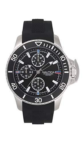 ノーティカ 腕時計 メンズ Nautica Men's Bayside Multi Stainless Steel Japanese-Quartz Silicone Strap, Black, 22 Casual Watch (Model: NAPBYS007ノーティカ 腕時計 メンズ