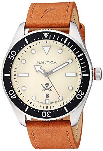 ノーティカ 腕時計 メンズ Nautica Men's Hillcrest Stainless Steel Japanese-Quartz Watch with Leather Strap, Brown, 22.2 (Model: NAPHCP903ノーティカ 腕時計 メンズ