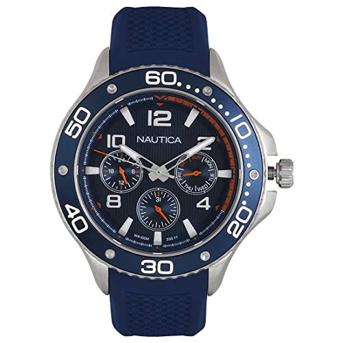 ノーティカ 腕時計 メンズ 【送料無料】Nautica Men's PIER 25 Collection Stainless Steel Japanese-Quartz Watch with Silicone Strap, Blue, 21 (Model: NAPP25002)ノーティカ 腕時計 メンズ