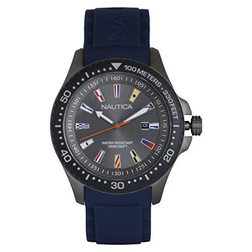 ノーティカ 腕時計 メンズ Nautica Men's Jones Beach Stainless Steel Japanese-Quartz Silicone Strap, Grey, 21.8 Casual Watch (Model: NAPJBC008ノーティカ 腕時計 メンズ