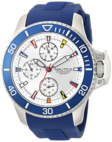 ノーティカ 腕時計 メンズ Nautica Men's 'Bayside' Quartz Stainless Steel and Silicone Casual Watch, Color:White (Model: NAPBYS002)ノーティカ 腕時計 メンズ