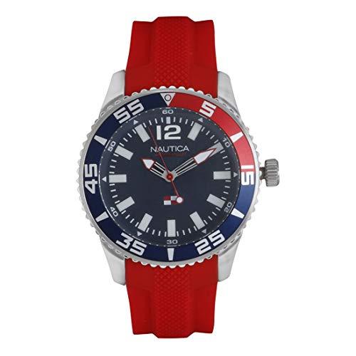 ノーティカ 腕時計 メンズ 【送料無料】Nautica Men's Pacific Beach Stainless Steel Japanese-Quartz Watch with Silicone Strap, red, 20.6 (Model: NAPPBP903ノーティカ 腕時計 メンズ