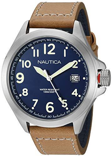 腕時計 ノーティカ メンズ 【送料無料】Nautica Men's Glen Park Stainless Steel Japanese-Quartz Leather Strap, Brown, 20.7 Casual Watch (Model: NAPGLP002腕時計 ノーティカ メンズ