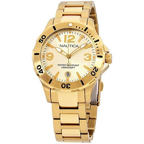 ノーティカ 腕時計 レディース Nautica Quartz Movement Gold Dial Unisex Watch A16596Mノーティカ 腕時計 レディース