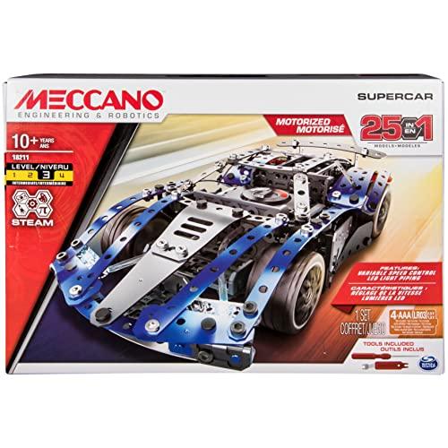 メカノ 知育玩具 パズル ブロック Meccano by Erector, 25-Model Supercar STEM Building Kit with LED Lights, for Ages 10 and Upメカノ 知育玩具 パズル ブロック