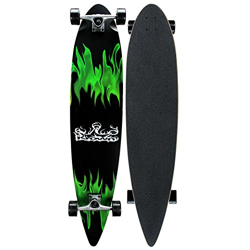 ロングスケートボード スケボー 海外モデル 直輸入 KRPT-11 Krown Green Flame Complete Longboard Skateboardロングスケートボード スケボー 海外モデル 直輸入 KRPT-11