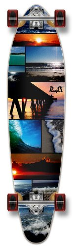 ロングスケートボード スケボー 海外モデル 直輸入 【送料無料】Yocaher New Graphic Complete Longboard KICKTAIL 70's Shape Skateboard w/ 71mm Wheels, Seasideロングスケートボード スケボー 海外モデル 直輸入