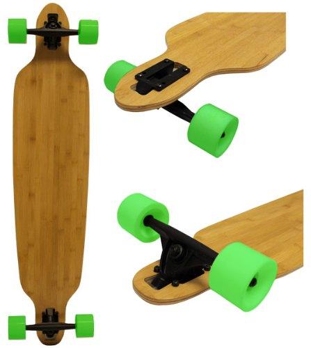 ロングスケートボード スケボー 海外モデル 直輸入 DECK Bamboo Drop-Through Longboard 9.25x42 W/ 70mm Neon Green Wheelsロングスケートボード スケボー 海外モデル 直輸入 DECK