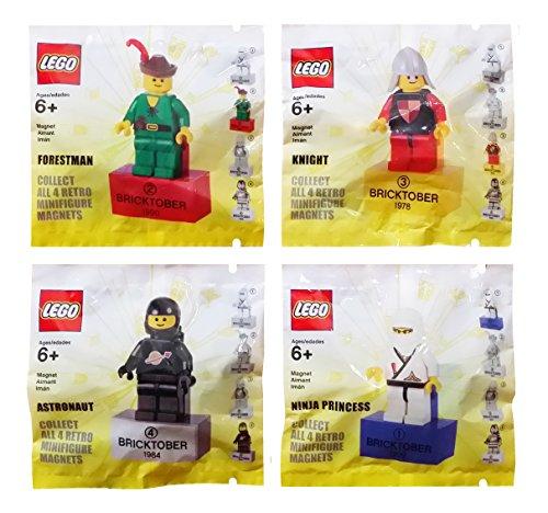 レゴ ニンジャゴー LEGO Bricktober Retro Minifigure Magnet 4 Pack Set Includes: Forestman (1990), Knight (1978), Astronaut (1984) & Ninja Princess (1999)レゴ ニンジャゴー