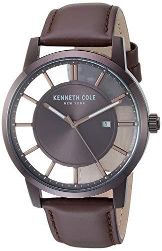 腕時計 ケネスコール・ニューヨーク Kenneth Cole New York メンズ 【送料無料】Kenneth Cole New York Men's TRANSPARENCY Stainless Steel Japanese-Quartz Leather Strap, Brown, 21.4 Casual腕時計 ケネスコール・ニューヨーク Kenneth Cole New York メンズ