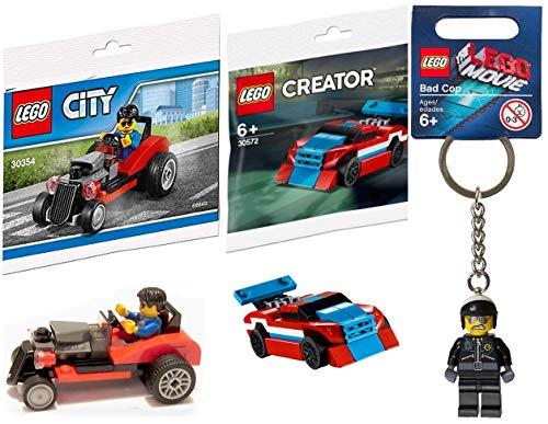 レゴ シティ LEGO Double Micro Car Block Set Red Race Creator Figure Building Kit Bundled with + Bad Cop Movie Keychain Hanger Character + City Road Hot Rod Minifigure Driver Toyレゴ シティ