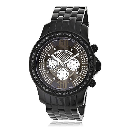 腕時計 ラックスマン メンズ 【送料無料】Mens Black Diamond Watch 2.25ctw of Diamonds by Luxurman腕時計 ラックスマン メンズ