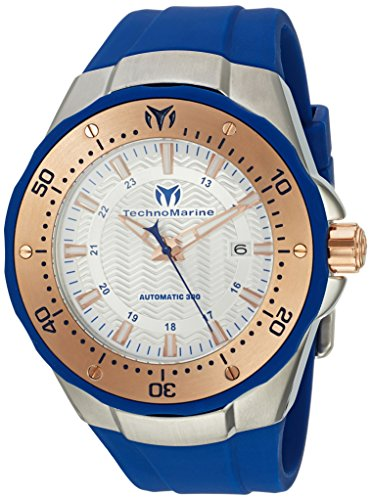 テクノマリーン 腕時計 メンズ 【送料無料】Technomarine Men's Manta Stainless Steel Automatic-self-Wind Watch with Silicone Strap, Blue, 0.95 (Model: TM-215091)テクノマリーン 腕時計 メンズ