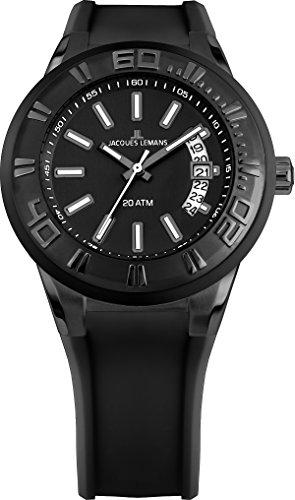 腕時計 ジャックルマン オーストリア メンズ ケビンコスナー愛用 【送料無料】Jacques Lemans Men's 1-1784I Miami Sport Analog Black Silicone Strap Watch腕時計 ジャックルマン オーストリア メンズ ケビンコスナー愛用