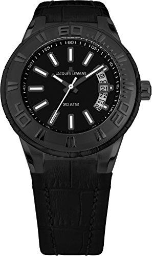 腕時計 ジャックルマン オーストリア メンズ ケビンコスナー愛用 【送料無料】Jacques Lemans Men's 1-1770J Miami Sport Analog Black Leather Strap Watch腕時計 ジャックルマン オーストリア メンズ ケビンコスナー愛用