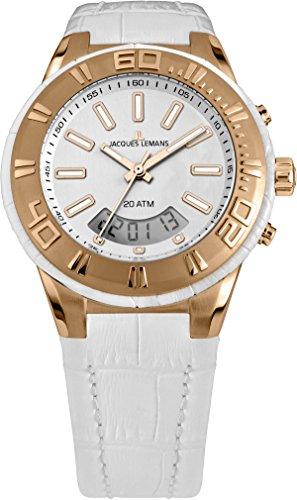 ジャックルマン オーストリア 腕時計 レディース ケビンコスナー愛用 【送料無料】Jacques Lemans Miami Gents White Leather Strap Watch 1-1772Fジャックルマン オーストリア 腕時計 レディース ケビンコスナー愛用