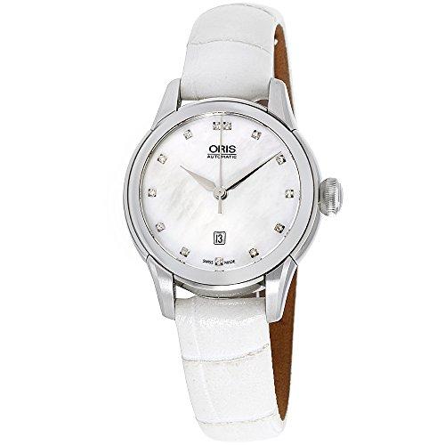 オリス 腕時計 レディース 【送料無料】Oris Artelier Date Automatic White Mother of Pearl Diamond Dial Ladies Watch 561-7687-4091LSオリス 腕時計 レディース