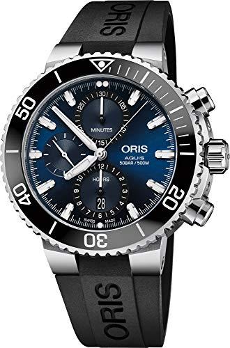 オリス 腕時計 メンズ 【送料無料】Oris Aquis Chronograph Stainless Steel with Ribber Strap Men's Watchオリス 腕時計 メンズ