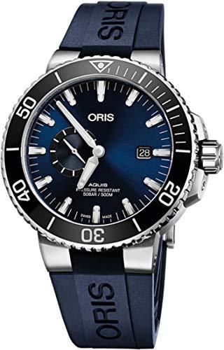 """オリス 腕時計 メンズ 【送料無料】Oris Aquis Small Second, Date Stainless Steel Men""""s Watch w/ Blue Rubber Strap74377334135RSオリス 腕時計 メンズ"""