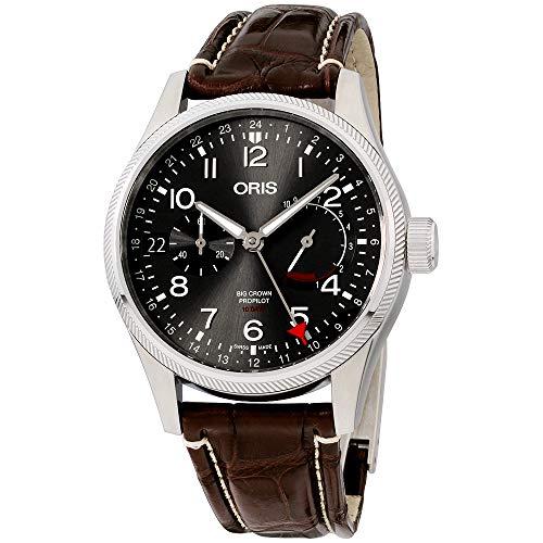 オリス 腕時計 メンズ 【送料無料】Oris Big Crown ProPilot Grey Dial Leather Strap Men's Watch 11477464063LSBRNオリス 腕時計 メンズ