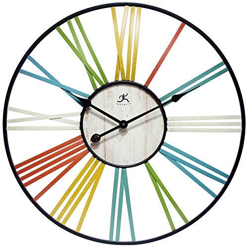 壁掛け時計 インテリア インテリア 海外モデル アメリカ 【送料無料】Infinity Instruments Wagon Wheel Multi-Color Large Oversized Metal Wall Clock | 27 inch Decorative Metal Frame Clock | Yellow,壁掛け時計 インテリア インテリア 海外モデル アメリカ