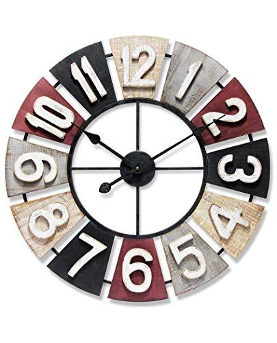 壁掛け時計 インテリア インテリア 海外モデル アメリカ Infinity Instruments Windmill Wooden Multi-Color Wall Clock | 24 inch Decorative Multi-Color Large Wooden Metal Wall Clock | Sawtooth Easy Hang 壁掛け時計 インテリア インテリア 海外モデル アメリカ