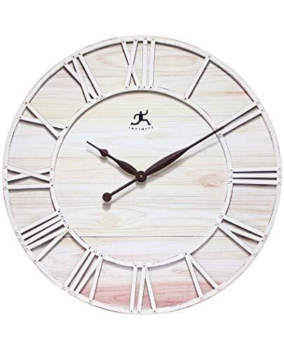 壁掛け時計 インテリア インテリア 海外モデル アメリカ 【送料無料】Farmhouse Fusion Oversized Wall Clock Coastal White Ivory Open Face Brown Hands Rustic Distressed Design Large Decorative Wall壁掛け時計 インテリア インテリア 海外モデル アメリカ