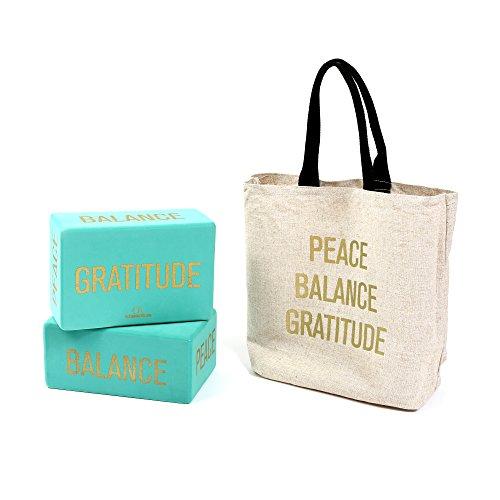 ヨガブロック フィットネス Affirmations Yoga Blocks (Set of 2, TEAL), Eco-Friendly High-Density Foam - 4
