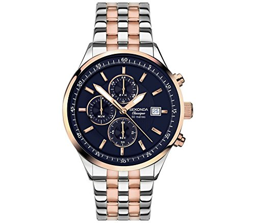 セコンダ イギリス 腕時計 メンズ Sekonda Velocity Classique Blue Dial Chronograph Rose Gold 2 Tone Bracelet Gents Watch 1233セコンダ イギリス 腕時計 メンズ