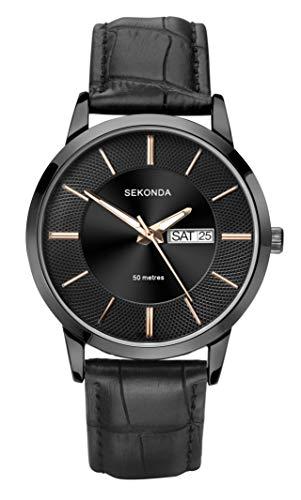 腕時計 セコンダ イギリス メンズ 【送料無料】Sekonda Mens Classic Analogue Quartz Watch with Black Leather Strap 1577腕時計 セコンダ イギリス メンズ