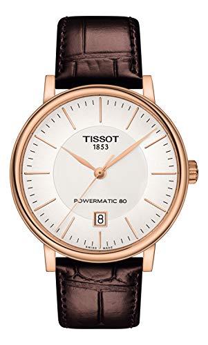 腕時計 ティソ メンズ 【送料無料】Tissot Carson T122.407.11.031.00 POWERMATIC 80 Rose Gold Brown Leather Automatic Watch腕時計 ティソ メンズ