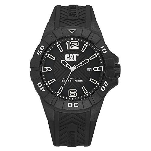 キャタピラー タフネス 腕時計 メンズ 頑丈 【送料無料】CAT Karbon Black/White Men Watch, 45.5 mm case, Black face, Date Display, Carbon Fiber case, Black Silicone Strap, Black/White dial (K1.121.21.132)キャタピラー タフネス 腕時計 メンズ 頑丈