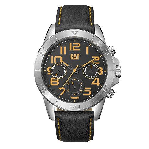 キャタピラー タフネス 腕時計 メンズ 頑丈 【送料無料】CAT YT Multi Silver Black Men Watch, 45 mm case, Black face, Stainless Steel case, Black/Yellow Leather Strap, Black/Yellow dial (YT.149.34.117) (Silvキャタピラー タフネス 腕時計 メンズ 頑丈