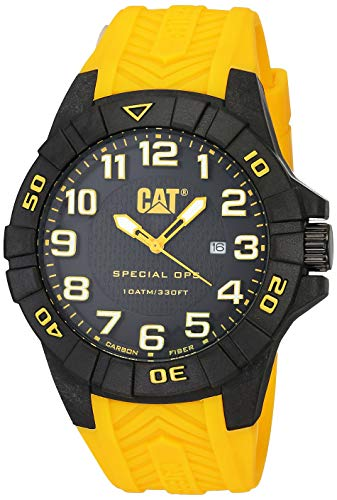 キャタピラー タフネス 腕時計 メンズ 頑丈 【送料無料】CAT Special OPS 1 Yellow Men Watch, 45.5 mm case, Black face, Date Display, Carbon Fiber case, Yellow Silicone Strap, Black/Yellow dial (K2.121.27.117キャタピラー タフネス 腕時計 メンズ 頑丈