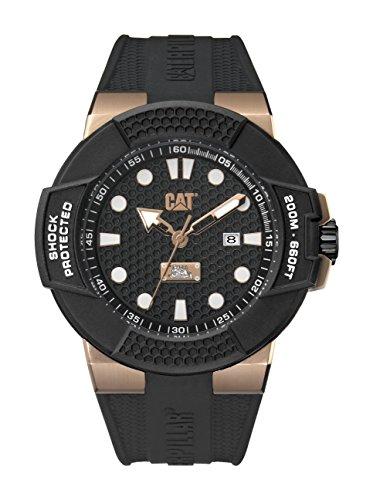 腕時計 キャタピラー メンズ タフネス 頑丈 【送料無料】CAT Watches Men's Shockmaster Stainless Steel Analog-Quartz Watch with Silicone Strap, Black, 25.9 (Model: SF.191.21.119)腕時計 キャタピラー メンズ タフネス 頑丈