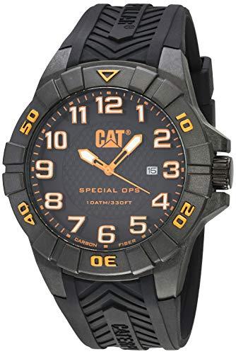 腕時計 キャタピラー メンズ タフネス 頑丈 【送料無料】CAT Special OPS 1 Black Orange Men Watch, 45.5 mm case, Black face, Date Display, Carbon Fiber case, Black Silicone Strap, Black/Orange dial (K2.121.2腕時計 キャタピラー メンズ タフネス 頑丈