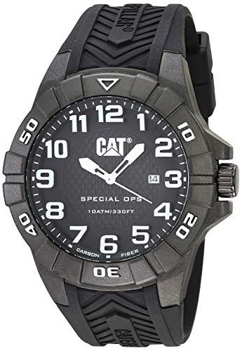 キャタピラー タフネス 腕時計 メンズ 頑丈 CAT Special OPS 1 Black Men Watch, 45.5 mm case, Black face, Date display, Carbon Fiber case, Black silicone strap, Black dial (K2.121.21.112)キャタピラー タフネス 腕時計 メンズ 頑丈