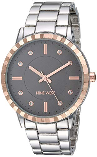 ナインウェスト 腕時計 レディース 【送料無料】Nine West Women's NW/2283TPRT Crystal Accented Rose Gold-Tone and Silver-Tone Bracelet Watchナインウェスト 腕時計 レディース