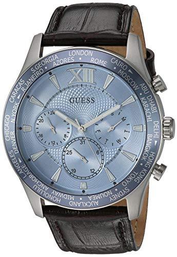 ゲス GUESS 腕時計 メンズ 【送料無料】GUESS Brown + Sky Blue Genuine Leather Chronograph Watch with Date Function. Color: Brown (Model: U1262G2)ゲス GUESS 腕時計 メンズ