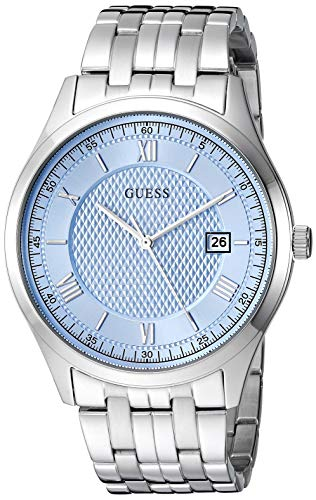 ゲス GUESS 腕時計 メンズ 【送料無料】GUESS Classic Stainless Steel Bracelet Watch with Sky Blue Dial + Date. Color: Silver-Tone (Model: U1218G3)ゲス GUESS 腕時計 メンズ